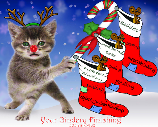 December Kitty with 3 mice in Christmas stockings. Bindery Services labeled on each.